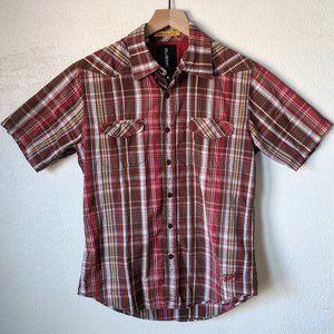 Billabong Red Brown Plaid Short Sleeve Buttondown